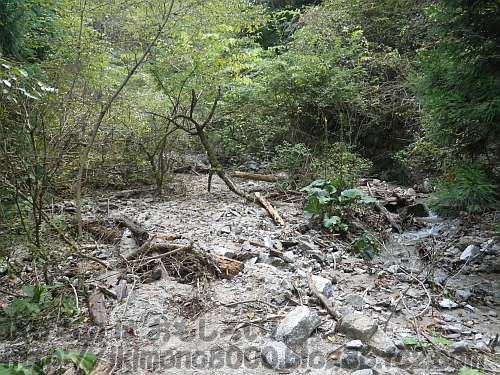 石だらけになってしまった第4堰堤の上
