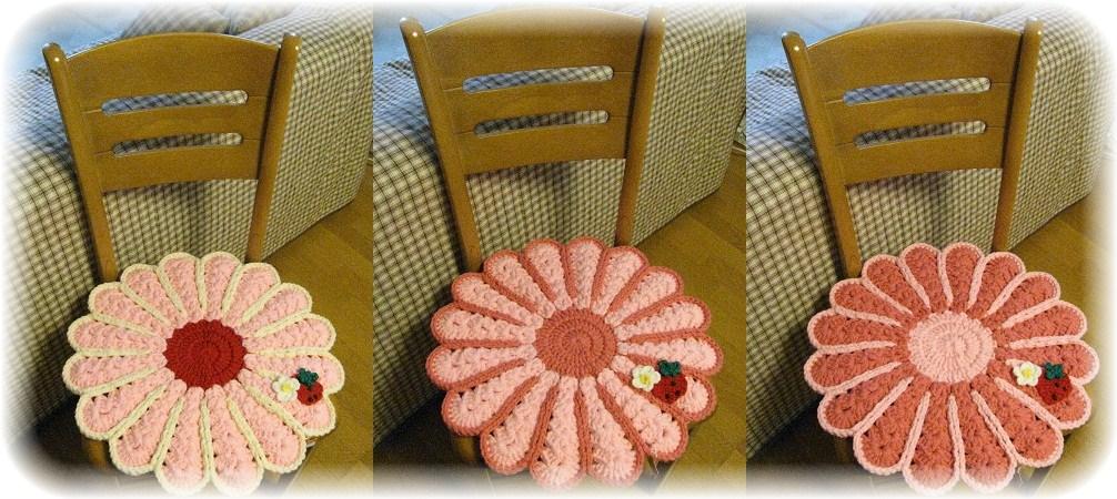 苺な花円座ピンク系