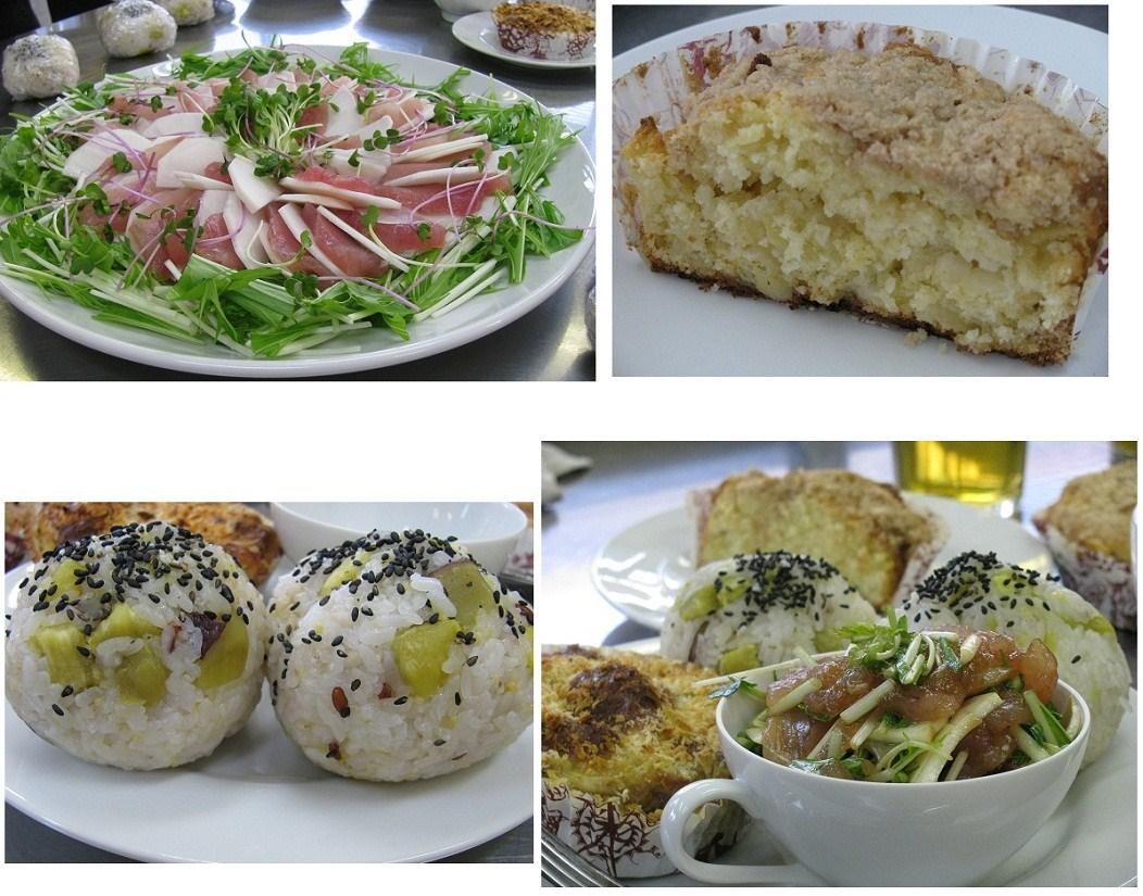 _「マグロとかぶのカルパッチョ」「りんごのクランブルケーキ」「さつま芋ご飯」「山芋ときのこのふわトログラタン」