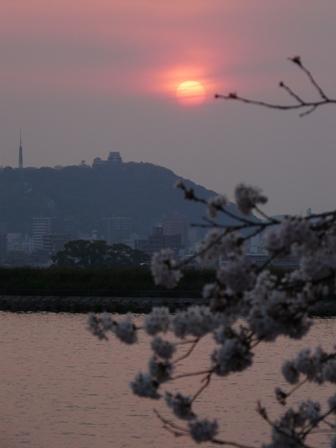 松山城と夕景 2
