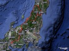 ばんちゃんの旅案内 -日本全国自走の旅--東北ドライブ行程by google earth