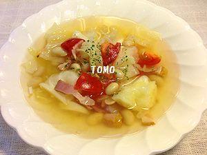 トマトとキャベツのガーリックスープ