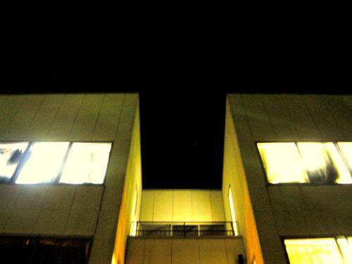 夜の東寮を見上げて。