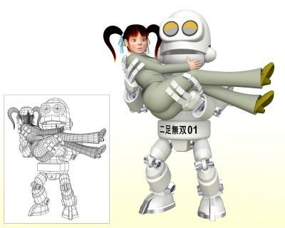 OLと二足歩行ロボ3Dキャラ画像1
