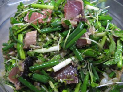 お刺身と薬味野菜サラダ