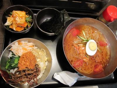 韓国冷麺とピビンパセット