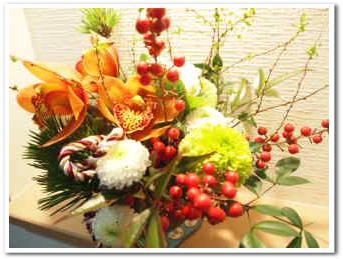 お正月用の花。