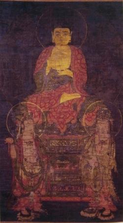 鶴林寺・高麗仏画「絹本着色阿弥陀三尊像」