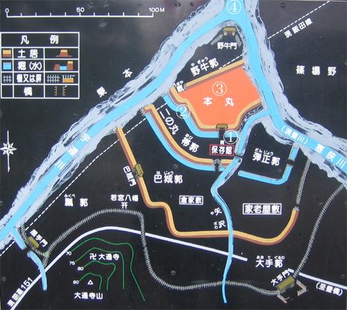 長篠城地図