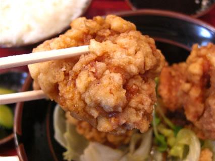 中華料理みんぱい 城東店 油淋鶏定食 油淋鶏 アップ
