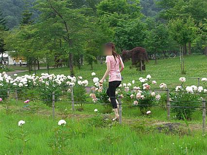 道の駅「虹の湖公園」 芍薬と干物女