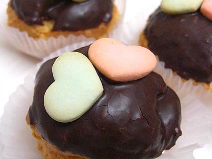しかないせんべい チョコせんべいシュー ハート型のクッキー
