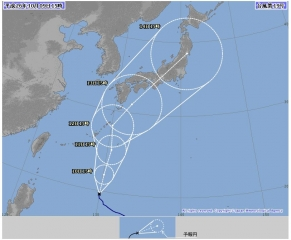 台風19号予想