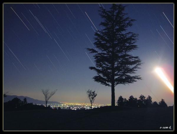 星の雨にうたれる一本杉