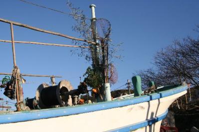 新年の漁船