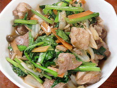 小松菜と猪肉の炒め物