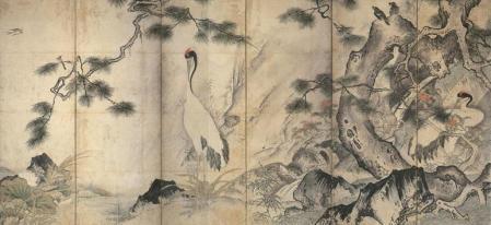 雪舟《四季花鳥図屏風》(右隻)京都国立博物館蔵