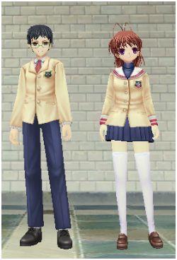 光坂高校の制服でツーショット