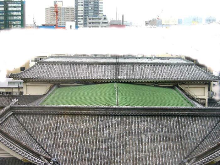 歌舞伎座取り壊し前を、上空から見下ろした図