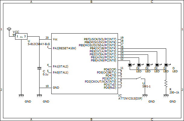 電子ルーレット回路図