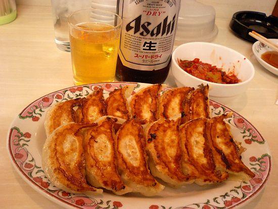 餃子よく焼き&ビール&キムチ