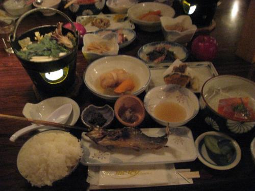 夕食 ランプの宿 青荷温泉