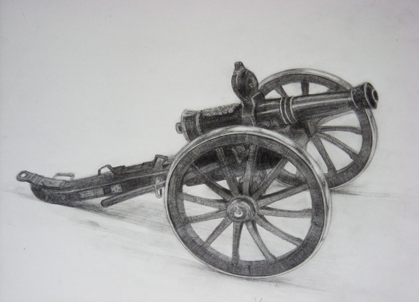 デッサン(大砲の付いた荷車)