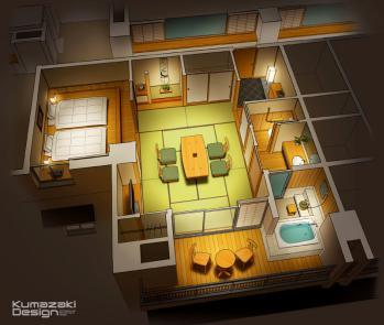 ホテル 温泉旅館 客室 内観パース インテリアパース アイソメパース 俯瞰 間取図