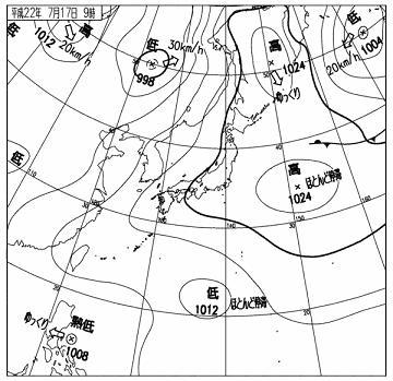 天気図2010年7月17日9時