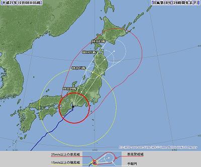 2010年10月台風18号 知多半島上陸時