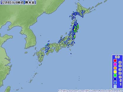 雨量 全国 2010年12月3日 10時
