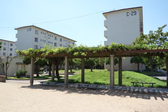 公団多聞台団地西側の住棟と植栽