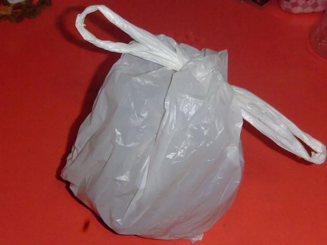 放置されたヤシの実の入った袋
