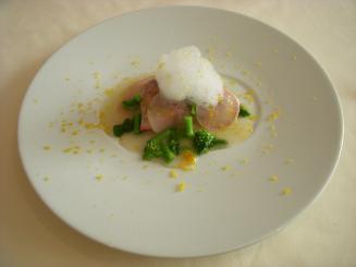 IL GHIOTTONE(PRANZO COMPLETA.A¥3675(寒ブリのコンフィの炙り 大根と菜の花の軽いフリカッセ ボッタルガと黄柚子の泡))