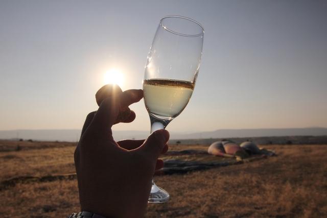 白ワインで乾杯。最高に気持ちよかった!