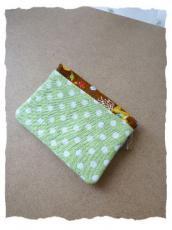 メルヘン柄 ミニ財布 茶 カードポケット