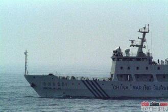 """10年 5月4日,日本海岸警衛隊公#20296;的照片,顯示正在東海海域的中國""""海監51""""調#26597;船"""