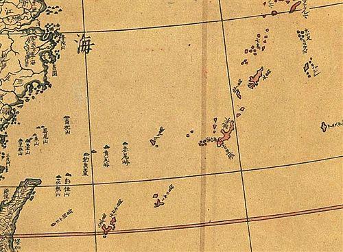 掲載用 琉球國範圍以紅色標示。引自山田聯『地球輿地全圖』1810年