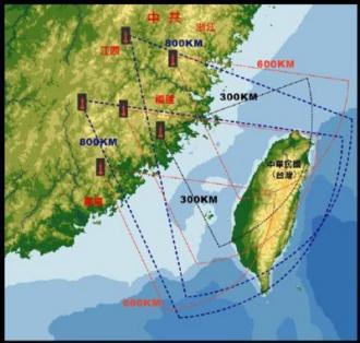 中國解放軍二砲短程彈道飛彈威脅示意圖。資料來源:中華民國九十七年國防報告書