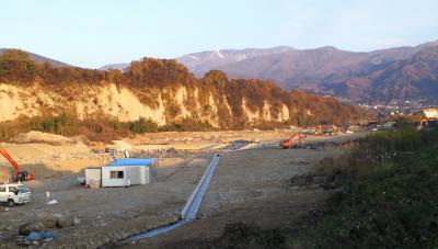 夜間瀬川工事現場下流から(24.11.22)