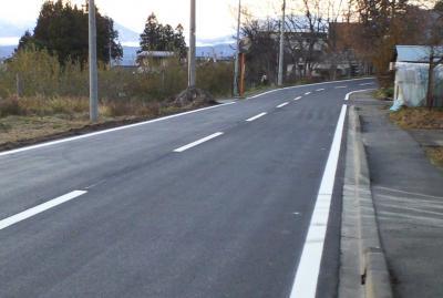 県道舗装工事完了(24.12.7)