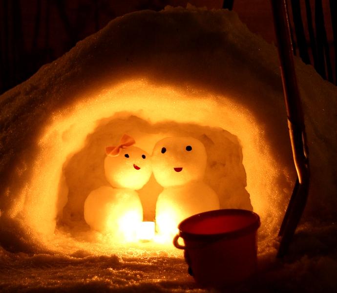 白峰式で雪だるまを作る