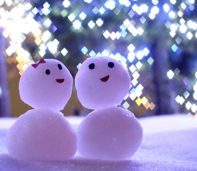 ダイヤのイルミと雪だるま
