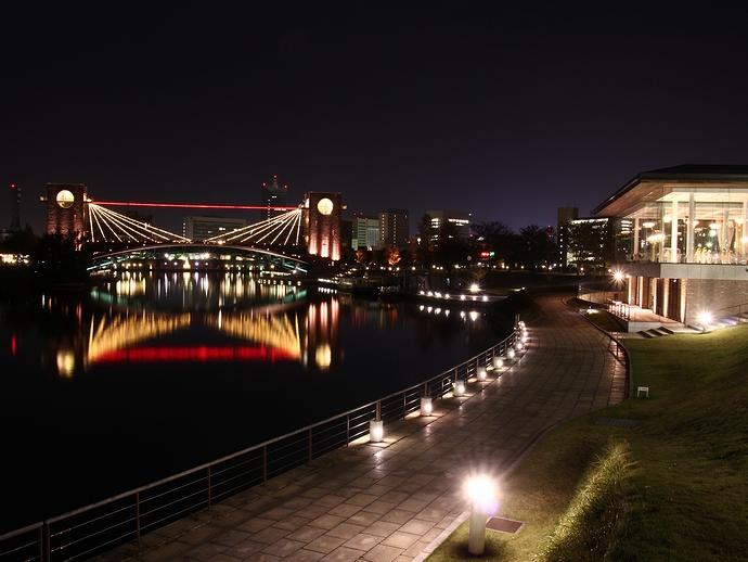 夜の環水公園の様子