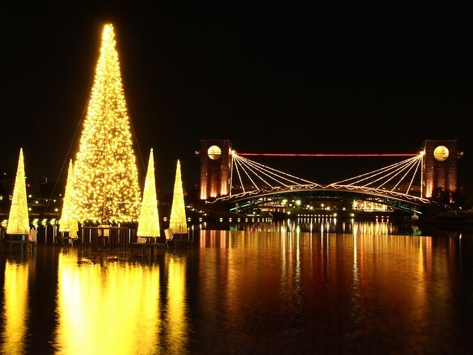 ライトアップされた天門橋とイルミネーション 富岩運河環水公園