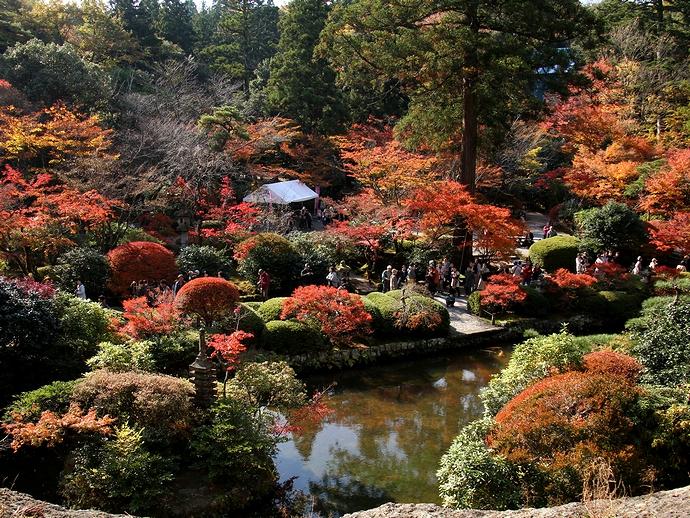 那谷寺の紅葉 奇岩遊仙境より庭園を見下ろす