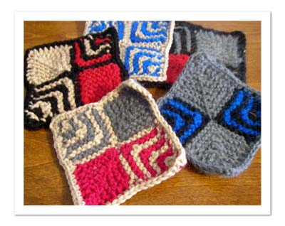 ドミノ編みコースター