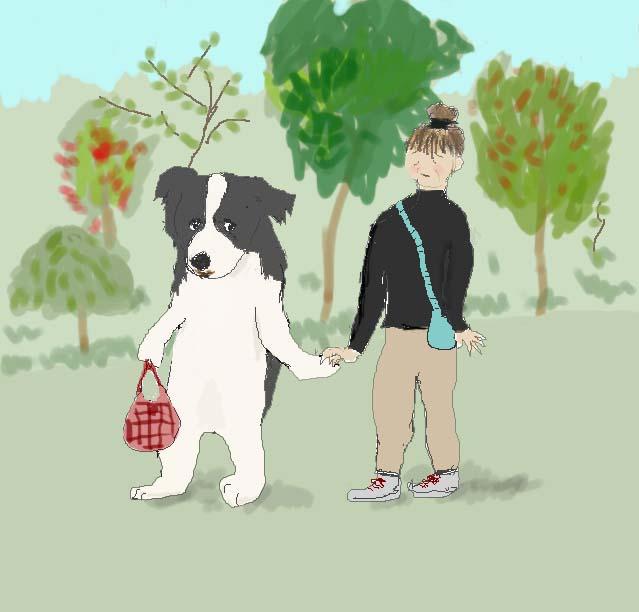 ミリーがbabaのお散歩