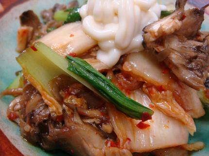 青梗菜とキムチと舞茸