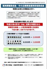 雇用調整助成金【助成額の見直し】20110127